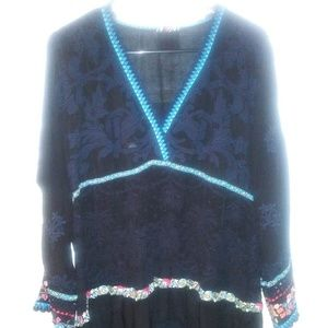 Johnny Was JWLA Black Tunic Dress